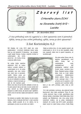 Zborový list cirkevného zboru Svätý Kríž – Lazisko Vianoce 2012