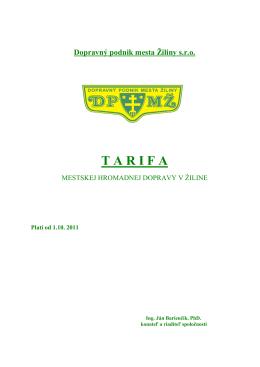Úplná tarifa platná od 1.10.2011 - Dopravný podnik mesta Žiliny sro
