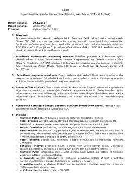 Komisie leteckej akrobacie dňa 29.1.2012 na letisku Prievidza