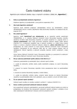 Často kladené otázky - Správa štátnych hmotných rezerv Slovenskej