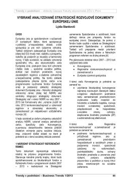 vybrané analyzované strategické rozvojové dokumenty európskej únie