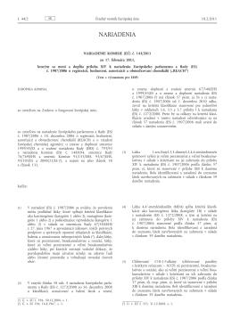 Nariadenie Komisie (EÚ) č. 143/2011 zo 17. februára 2011, ktorým