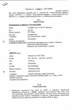 adresa: ICO: bankovd spojenie: OTP banka v zastupeni: tel./fax: C