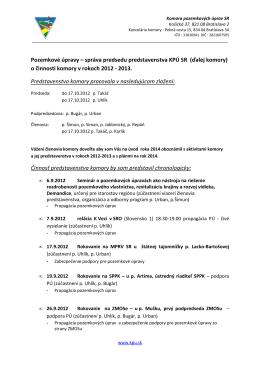 Správa o činnosti KPÚ SR za predošlé obdobie.