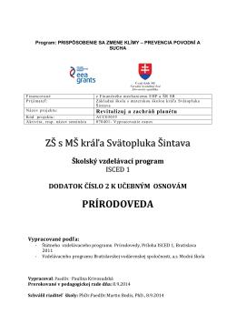 Dodatok č. 2 Nórsky projekt - ZŠ s MŠ kráľa Svätopluka Šintava