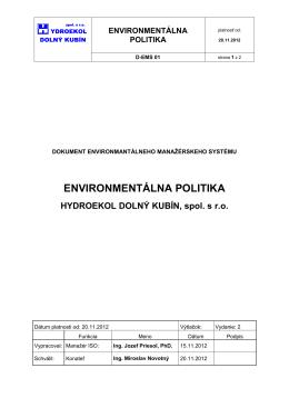 politika žp - Hydroekol Dolný Kubín spol. s.r.o.