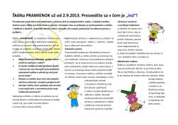 """Škôlka PRAMIENOK už od 2.9.2013. Presvedčte sa v čom je """"iná""""!"""