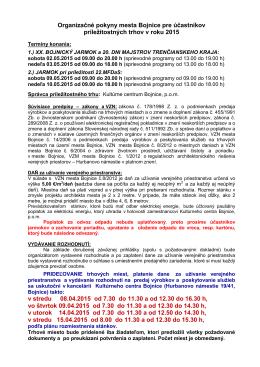 Organizačné pokyny mesta Bojnice pre účastníkov príležitostných