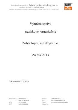 Výročná správa neziskovej organizácie Zober loptu, nie drogy no 2013