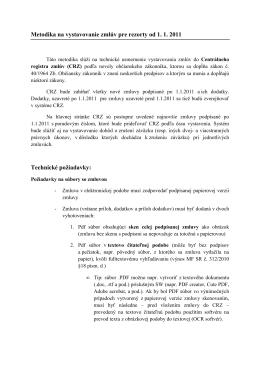 Metodika na vystavovanie zmlúv pre rezorty od 1. 1. 2011 Technické