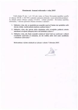 Oznámenie o konaní referenda a určení okrskov na konanie referenda
