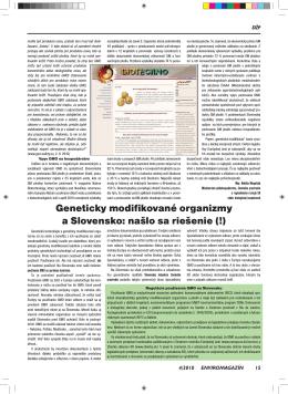 Geneticky modifikované organizmy a Slovensko: našlo sa riešenie (!)