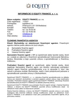 Informácie o spoločnosti EQUITY FINANCE, s. r. o.