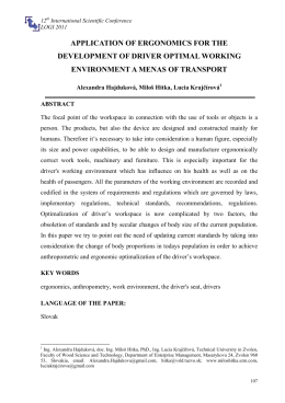 application of ergonomics for the development of driver optimal