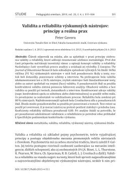Validita a reliabilita výskumných nástrojov: princípy a reálna prax