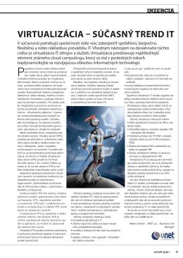virtualizácia – súčasný trend it - VNET – telekomunikačné riešenia
