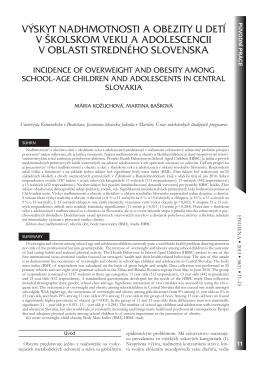 výskyt nadhmotnosti a obezity u detí v školskom veku a adolescencii