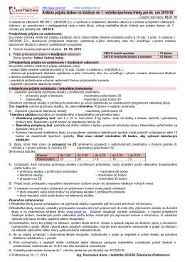 Kritériá prijatia žiakov na štúdium do 1. ročníka športovej triedy pre
