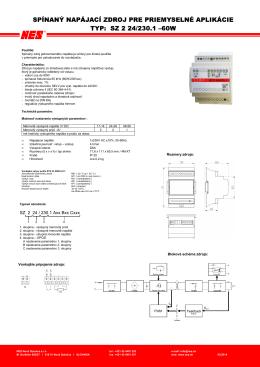 spínaný napájací zdroj pre priemyselné aplikácie typ: sz 2 24/230.1