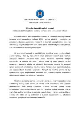 Vyhlásenie ZMOS k začiatku oficiálnej kampane pred komunálnymi