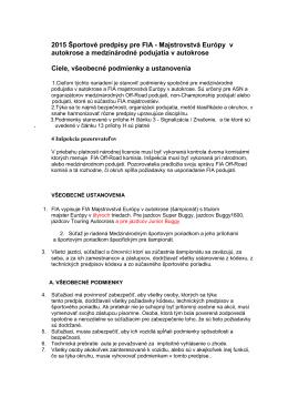 2015 Športové predpisy pre FIA - Majstrovstvá Európy v autokrose a