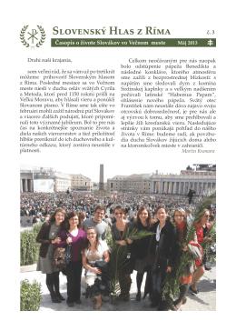 Máj 2013 - Pápežské slovenské kolégium sv. Cyrila a Metoda v Ríme