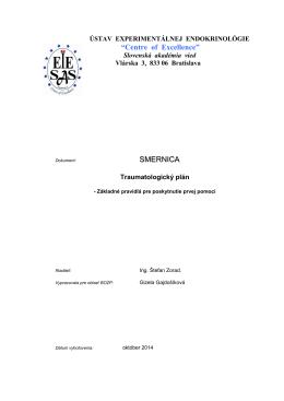 Traumatologický plán - Ústav experimentálnej endokrinológie, SAV