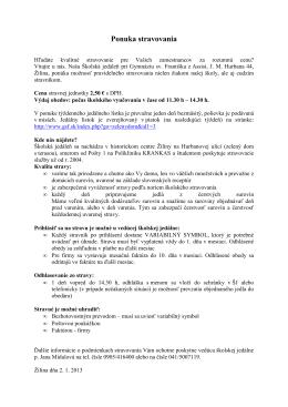 Ponuka stravovania - Gymnázium sv. Františka z Assisi v Žiline