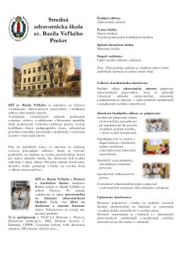 Základné informácie o našej škole - Cirkevná Stredná zdravotnícka