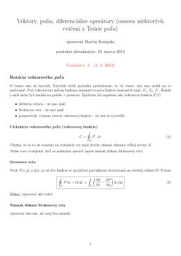 Vektory, polia, diferenciálne operátory (osnova niektorých cvičení z