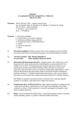 Zápisnica zo zasadnutia Obecného zastupiteľstva v Dúbravke dňa