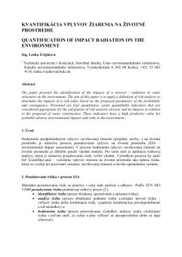 kvantifikácia vplyvov žiarenia na životné prostredie quantification of