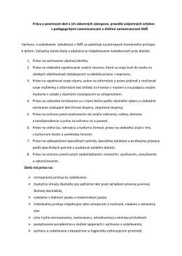 Práva a povinnosti detí a ich rodičov v materskej škole a Dochádzka