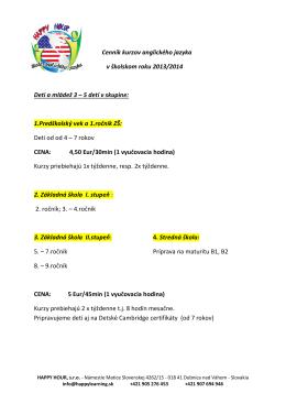 Cenník kurzov anglického jazyka v školskom roku 2013/2014 Deti a