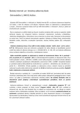 Školský internát pri Strednej odbornej škole Ostrovského 1, 040 01