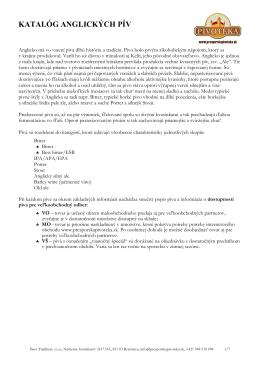 Katalóg anglických pív na stiahnutie vo formáte PDF.