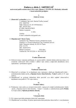 Zmluva o dielo č. 16052012-IČ - archatelier, s.r.o.