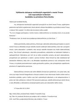 Vyhlásenie zástupcov neziskových organizácií v meste Trnava voči