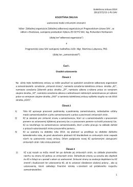 Kolektívna zmluva - Prognostický ústav Slovenskej akadémie vied