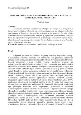 Obyvateľstvo a sídla Popradskej kotliny v kontexte zmien krajinnej