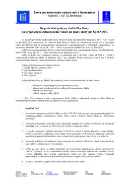 Organizačné pokyny riaditeľky školy na organizačné zabezpečenie