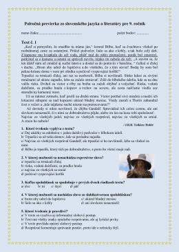 Polročná previerka zo slovenského jazyka a literatúry pre 9. ročník