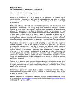 Info o konferencii (PDF) - Asociácia slovenských filmových klubov