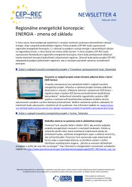 CEP-REC Newsletter 4 - Energetický klaster | západné Slovensko