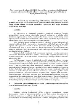 Návrh zásad k novele zákona č. 245/2008 Z. z. o výchove a vzdelávaní