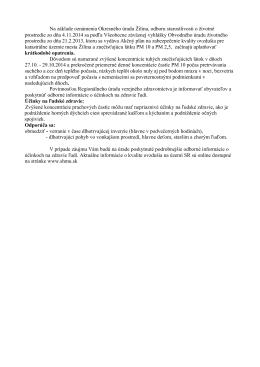 Krátkodobé opatrenia v súvislosti s kvalitou ovzdušia v Žiline