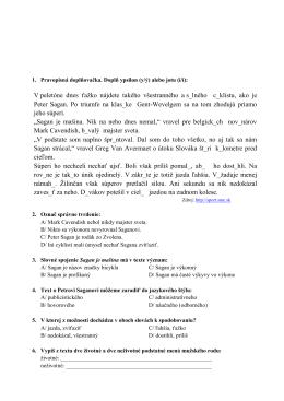 Test zo slovenského jazyka pre prijímacie konanie na 4 ročnú formu