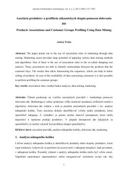 Trnka Andrej - Asociácia produktov a profilácia zákazníckych skupín