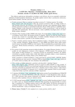 Domáca úloha č. 3 2-AIN-501: Metódy v bioinformatike, Zima 2014