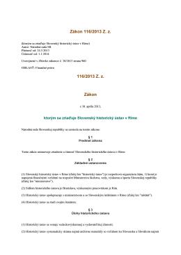 Zákon 116/2013 Z. z., ktorým sa zriaďuje Slovenský historický ústav
